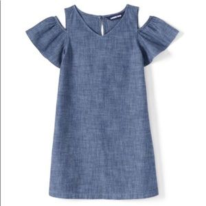 Land's End Girls 12 Cold Shoulder Chambray Dress